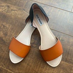 Steve Madden Side Step Sandals, BLK/COGNAC, 9.5